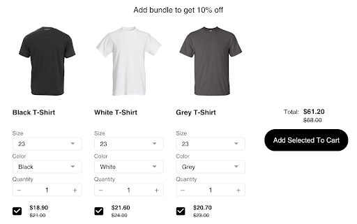 bundle on a product page