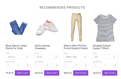 upsell with recommended products